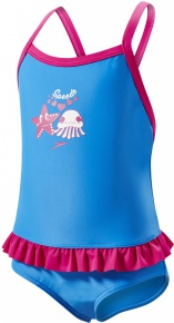 Speedo Fantasy Flowers Frill Suit Kid Neon Blue/Electric Pink/White