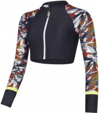 Speedo Ultra Fizz Zip Rash Top Black/Oxid Grey/Hot Orange
