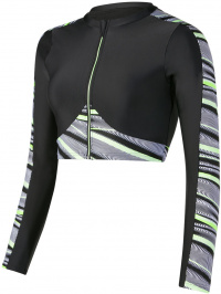 Speedo Reflect Wave Rash Top Black/Bright Zest/White