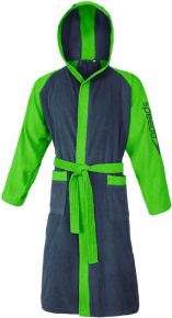 Speedo Bathrobe Microterry Bicolor Navy/Jasmine Green
