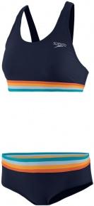 Speedo Solid U-Back 2 Piece True Navy/Orange Fizz/Mango/Sky Blue/Blue Bay