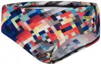 Speedo GlitchCode Digital Allover 6.5cm Brief Boy Black/Bondi Blue/Mango/Lava Red