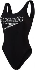 Speedo Logo Deep U-Back 1 Piece Black/White