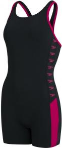Speedo Boom Logo Splice Legsuit Black/Electric Pink